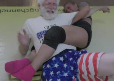 Bodyscissors - (O/D) - Carmella Ringo and Monroe Jamison vs Chuck - 2019