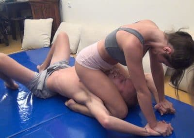 Schoolgirl Pin - Bryan vs Leia - Semi-Competitive Wrestling - Mixed Wrestling Planet - 2015
